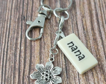 NANA Key Chain Personalized Customized Domino Gift for grandmother, Gift for Nana by Kristin Victoria Designs