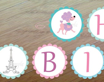 Paris Poodle Party, Happy Birthday Banner, Printed and assembled, Paris France Party, Poodle Birthday