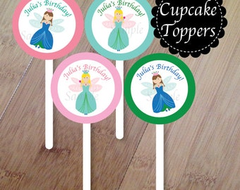 Fairy Garden Cupcake Toppers, Set of 12 Cupcake Toppers, Fairy Birthday Party