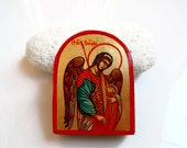 St Archangel Raphael Mini Icon on easel, original handpainted orthodox  icon 3 by 4 inches