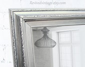 """ANY COLOR - Brushed Nickel Modern Bathroom Mirror Framed Vanity Mirror Wall 41""""x29"""" Silver  Modern Design Mirror Unique Mirror Rectangle"""