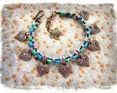 Indie HEART charm ANKLE Bracelet beaded Anklet Gypsy Boho jewelry Bikini anklet Dance foot jewelry Hippie bare feet Earthy jewelry GPyoga