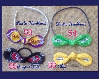 49ers, Seahawks, Lakers, Chargers, Fabric Bow Ponytail Holder, Bow Headband, Fabric Bow Hair Band, Hair Bow