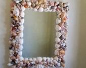 "Seashell mirror, coastal decor, beach cottage wall mirror, Seaside decor, Nautical, multi shell mirror, 15 x 18 "" Up cycled shell frame"