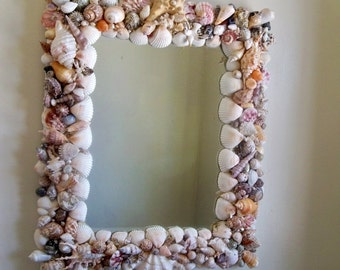 "SALE Seashell mirror, coastal decor, beach cottage wall mirror, Seaside decor, Nautical, multi shell mirror, 15 x 18 "" Up cycled shell frame"