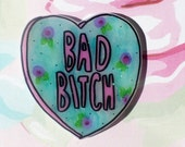 MATURE Bad B Brooch, spring floral heart, Holographic glitter, feminist brooch, tumblr, 90's fashion, 90's style, dope Badge