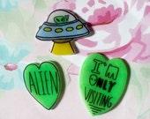 Aliens, UFO, Alien pin set, Holographic glitter, green heart, tumblr, 90's pin style,  jean jacket, too sassy
