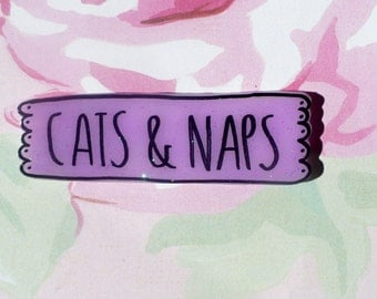 Cats and Naps pin, Kitty brooch, sassy, Cat pin, Holographic glitter, tumblr, 90's kid, sassy jewelry, because cats