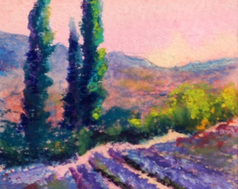 Original ACEO painting - Gift Wrapped Miniature art trading card, framed, original ATC, 2.5 by 3.5 - Provence Landscape oil pastel painting