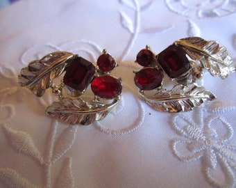 Vintage Leaf Design Clip On Earrings with Ruby Red Faceted Rhinestones