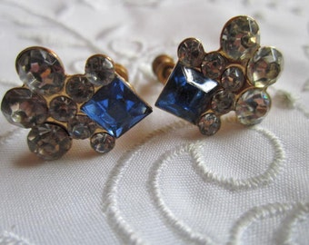 Vintage Gold Tone Royal Blue and Clear Rhinestone Screw Backed Earrings