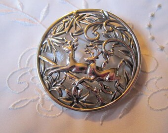Vintage Large Silver Tone Circle Brooch with Leaves, Pine Cones and Two Deer
