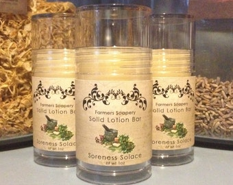 Soreness Solace Solid Lotion or Perfume Stick 1oz Tube essential oil Preservative Free Aromatherapy Solid Perfume Moisturizing Foot Lotion