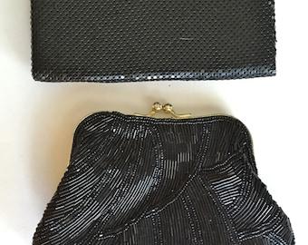 2 Vintage Black Beaded Designer Clutch Handbags - Whiting & Davis and La Regale