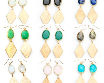 ALL COLORS Hammered Brass Diamond with Bezel Stone Earring - EG04