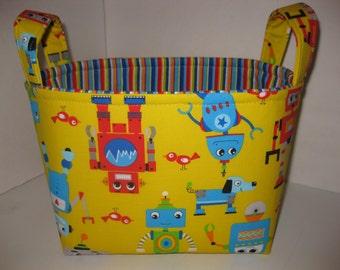 Yellow Blue Orange Green Robot Fabric Organizer Bin / Basket - Small Diaper Caddy