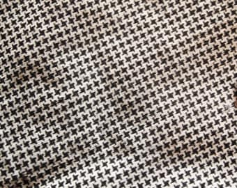 Antique Fabric 1890 - 1910 Black and White TINY Hounds tooth - Mourning Shirting Dress Quilt