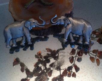 Vintage jj earrings elephants silver tone marked