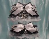 Disney Mickey & Minnie Mouse Formal Black on White Wedding Garter Set