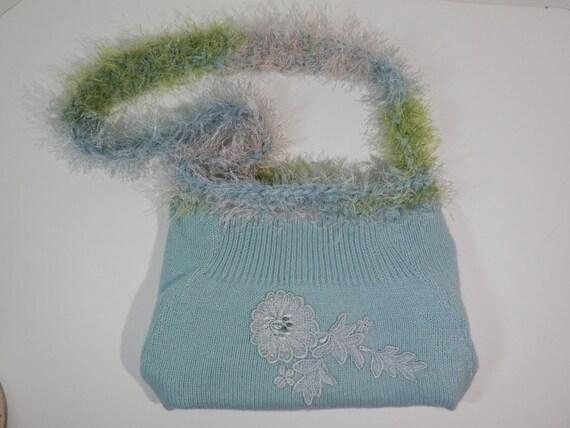 10 X 14 Upcycle Re Design Knit Sweater Purse Blue ANGORA Blend Bag Lace Rose Applique Crochet Fun Fur Shoulder Crossbody Lightweight Craft