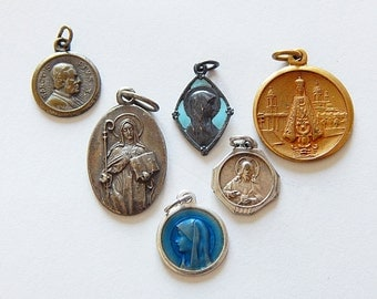 french medals vintage 6 religious pendant/ medals