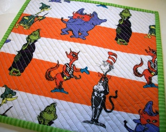 Halloween Grinch Mug Rug Snack Mat Dr. Seuss and Friends Quilted Reversible
