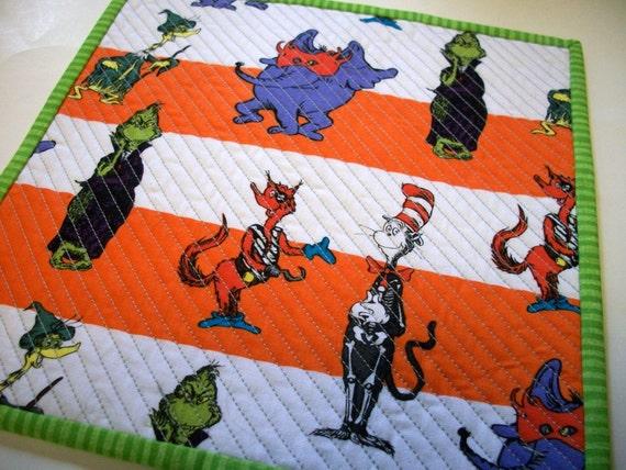 Halloween Grinch Mug Rug Snack Mat Dr. Seuss And Friends
