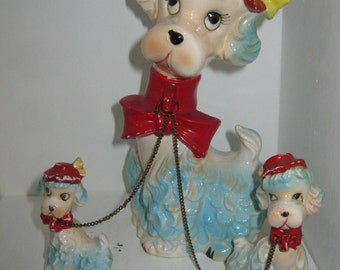 Vintage Mother Poodle and Puppies Ornament