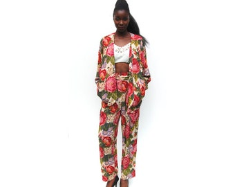 Floral print tapered two piece pantsuit 1990s 90s VINTAGE