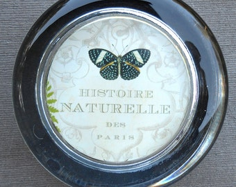 Black Butterfly French Naturalist Illustration in Glass Paperweight
