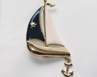 ANCHORS AWEIGH Navy and White Enamel Sailboat Brooch with Dangling Anchor