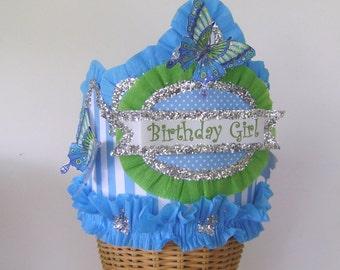 Butterfly Birthday Hat, butterfly birhday crown, Girl Birthday Hat, Girl Birthday crown, customize