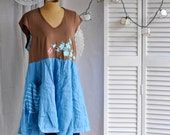 Upcycled dress mori girl refashioned Eco friendly repurposed recycled tunic reused boho hobo fall layer plus  tee shirt patchwork gypsy