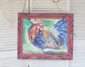 Keeper Rooster Painting Chicken Farm Rustic Acrylic 20 x 16 Original Fine Art Study Stretched Canvas impressionistic
