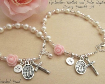 Matching Personalized Godmother/Mother and Baby Baptism Rosary Bracelet Set with Guardian Angels