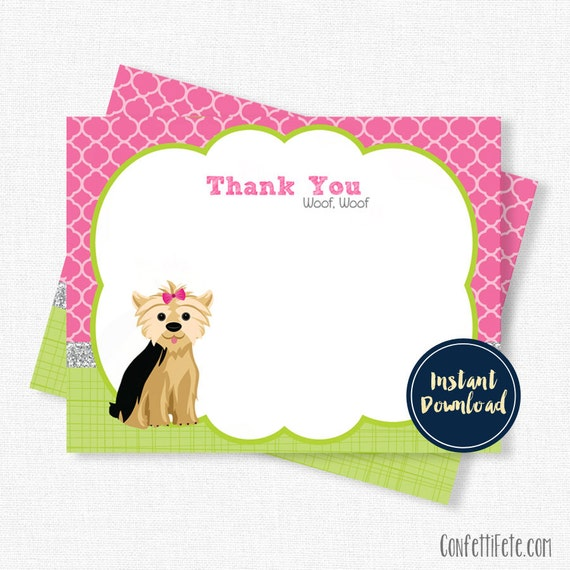 Well-known Dog Thank You Cards, Birthday Thank You Card, Puppy Party, Yorkie  OO79