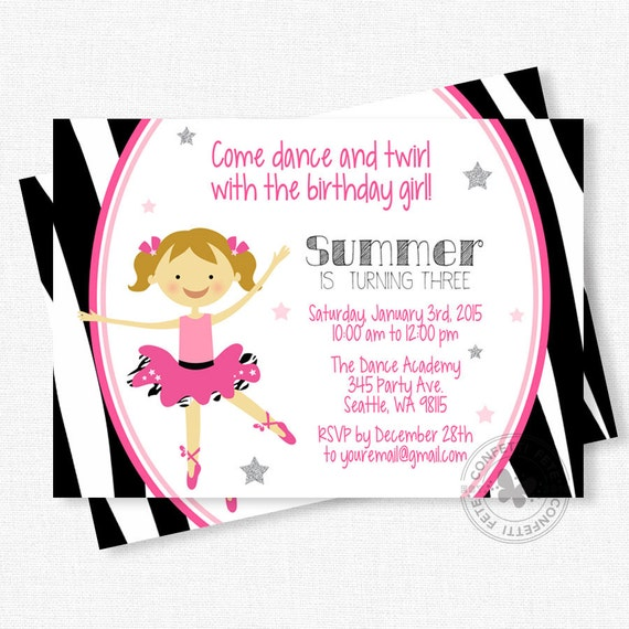 ballerina birthday invitation, diva birthday party, tutu birthday, Birthday invitations