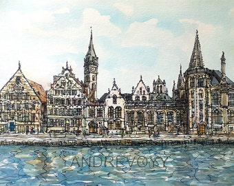 Gent Ghent Belgium art print from an original watercolor painting