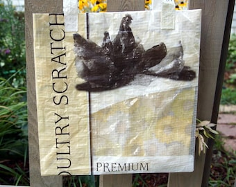 LINED Feed Sack Tote - Chicken Scratch