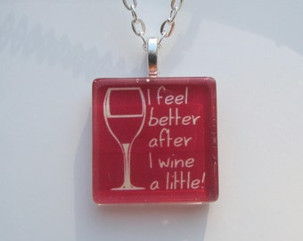 Wine Glass Pendant Necklace with Silver Chain Necklace