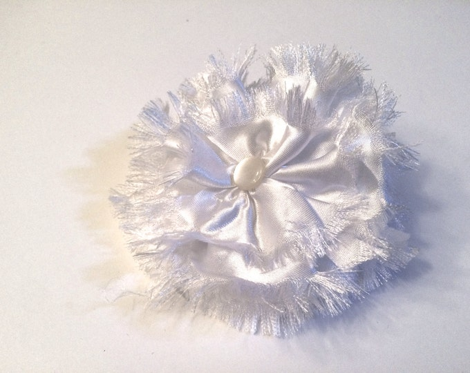 Large White Satin Collar Flower for large dog breed,  5 inch, wedding accessory, para perros, boda