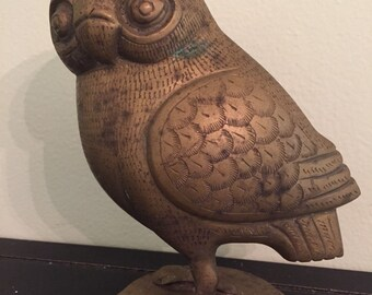 BRUTALIST BRASS OWL Large and Intricate Modernist Decor Mid Century Modern at Modern Logic