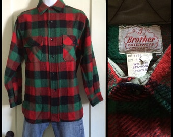Deadstock Vintage 1950's 5 Brother Wool Shirt red green black Buffalo Plaid size 15 NOS