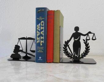 Lady Justice Judge Honor Honesty Legal Court Magistrate Supreme Law Judiciary Bench Bar Attorney Metal Bookends