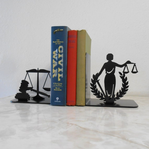 Lady Justice Judge Honor Honesty Legal Court Magistrate Supreme Law Judiciary Bench Bar Attorney Metal Art Bookends