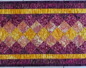 Touch of Gold Quilted Batik Table Runner with mauve, gold and purple
