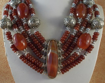 Western Cowgirl Necklace Set - Chunky Five Strand Carnelian - Gypsy Tribal Statement