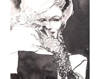 Marilyn Monroe, Marilyn Monroe Print, Watercolor Painting, Watercolor fashion Illustration, Fashion Poster, Black and white fashion print
