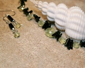 Chrysoberyl and green tourmaline necklace and earrings set