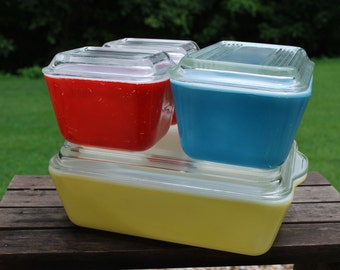Vintage Perfectly Imperfect Pyrex Fridge Dishes in Primary Colors.